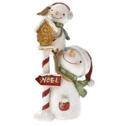 Χιονάνθρωποι με κλουβί Πολυρεζίν 6x14cm