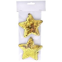 Αστέρι κρεμαστό με πούλιες χρυσό 10cm set 2 τεμ.