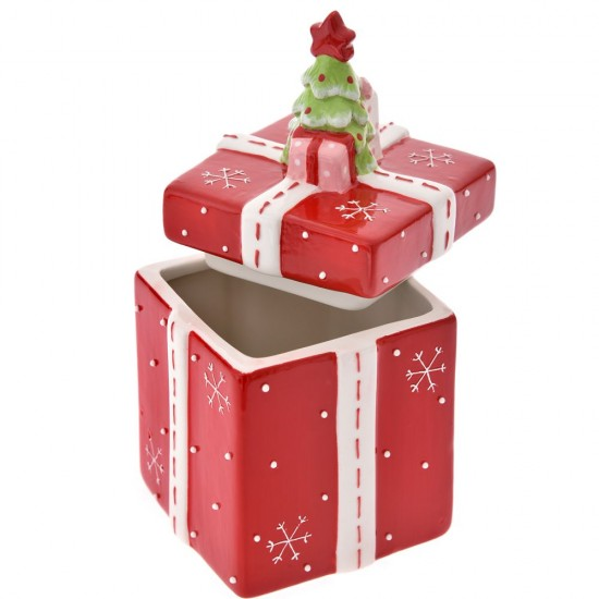 Μπισκοτιέρα Δώρο κόκκινο 10x10x18cm
