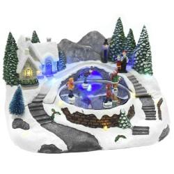 Χριστουγεννιάτικο χωριό με σκιέρ φως, κίνηση 28x20x20cm