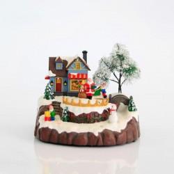 Χριστουγεννιάτικο χωριό με ΑΪ Βασίλη και Χιονανθρωπο, φως, μουσική, κίνηση  20Χ19Χ15,5cm