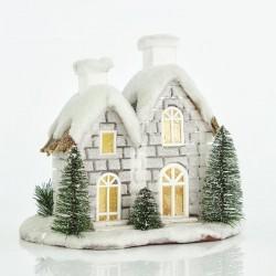 Φωτιζόμενο Σπιτάκι Χιονισμένο μπαταρίας 28x20x27cm