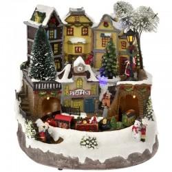 Χριστουγεννιάτικο Χωριό με φως, μουσική, κίνηση 26x26x23cm
