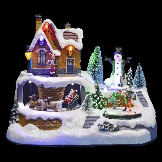 Χριστουγεννιάτικο Χωριό με φως, κίνηση χιονάνθρωπος-έλκυθρο