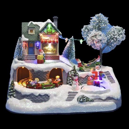 Χριστουγεννιάτικο χωριό με φως, κίνηση Άγιος-Τραινάκι 23cm