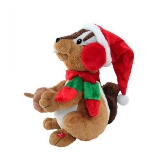 Σκίουρος Χριστουγεννιάτικος μουσική κίνηση 27cm
