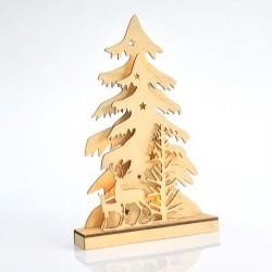 Φωτιζόμενο Δέντρο Ξύλινο 3D μπαταρίας 24x37cm