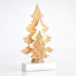 Φωτιζόμενο Δέντρο Ξύλινο 3D μπαταρίας 12x22cm