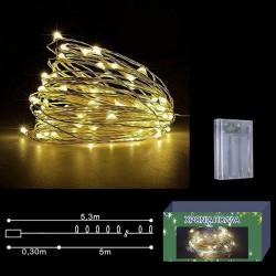 50 microLED Μπαταρίας Λευκό Θερμό Σταθερού φωτισμού