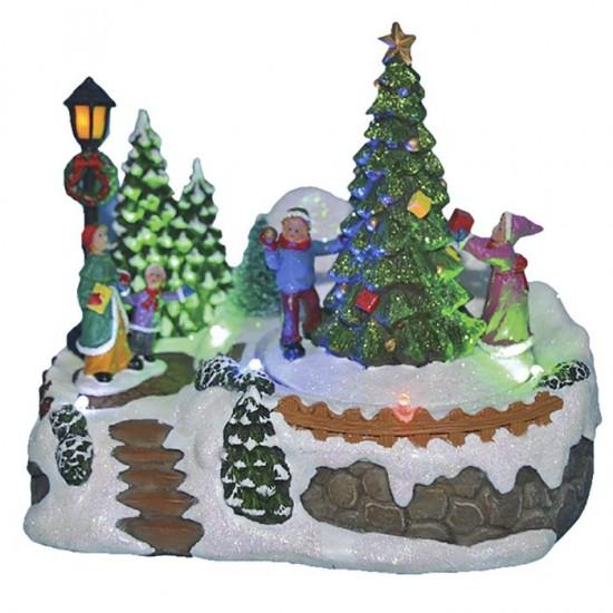 Χριστουγεννιάτικο Χωριό με φως, κίνηση δεντράκια 18cm