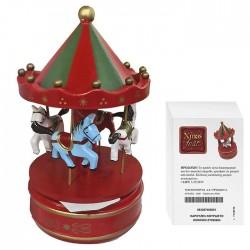 Καρουζέλ Ξύλινο κόκκινο κουρδιστό 11x18cm