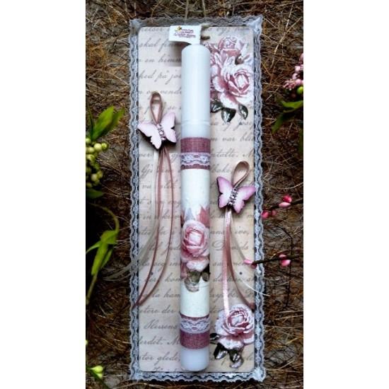Λαμπάδα σε Ξύλινη Κορνίζα Τριαντάφυλλο Πεταλούδα